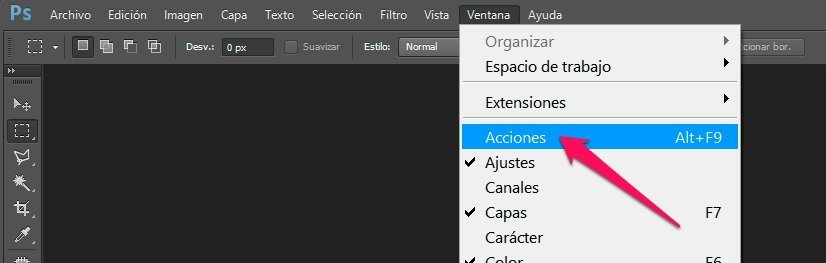 reducción automática de fotos panel acciones