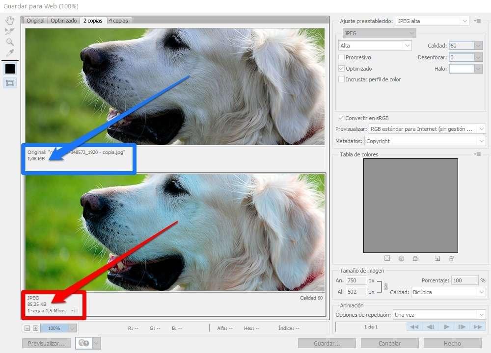 reducción automática de fotos para web