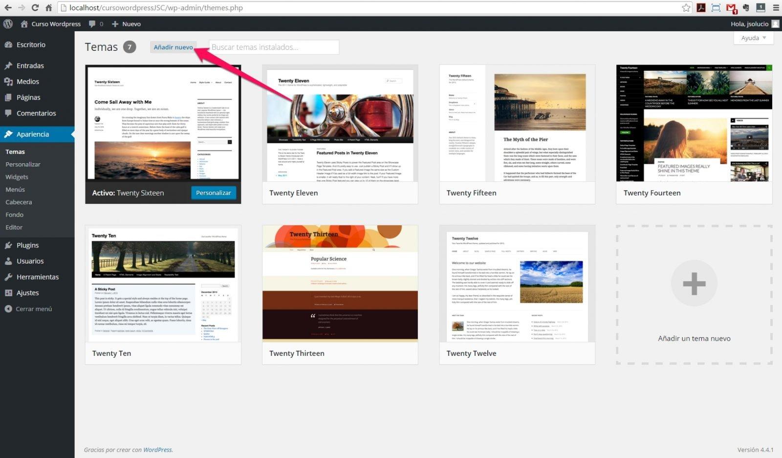 Instalar un Tema en Wordpress