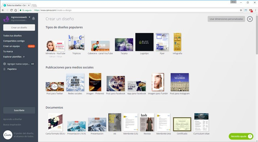 software gratuito de diseño canva