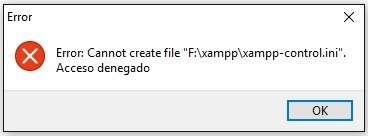Error de acceso en Xampp