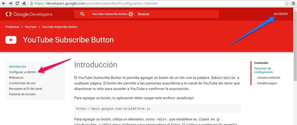 botón de suscripción de Youtube configurar