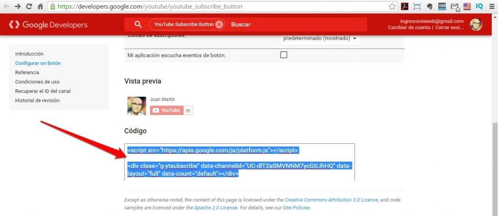 botón de suscripción de Youtube codigo