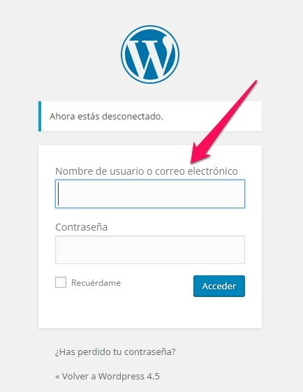 wordpress 4.5 inicio sesion