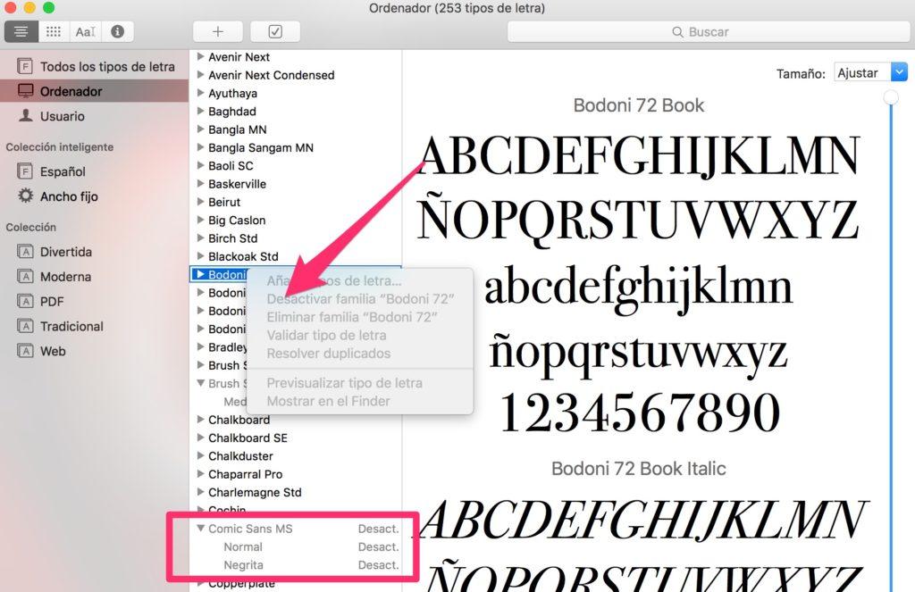 tipografias en Mac desativar