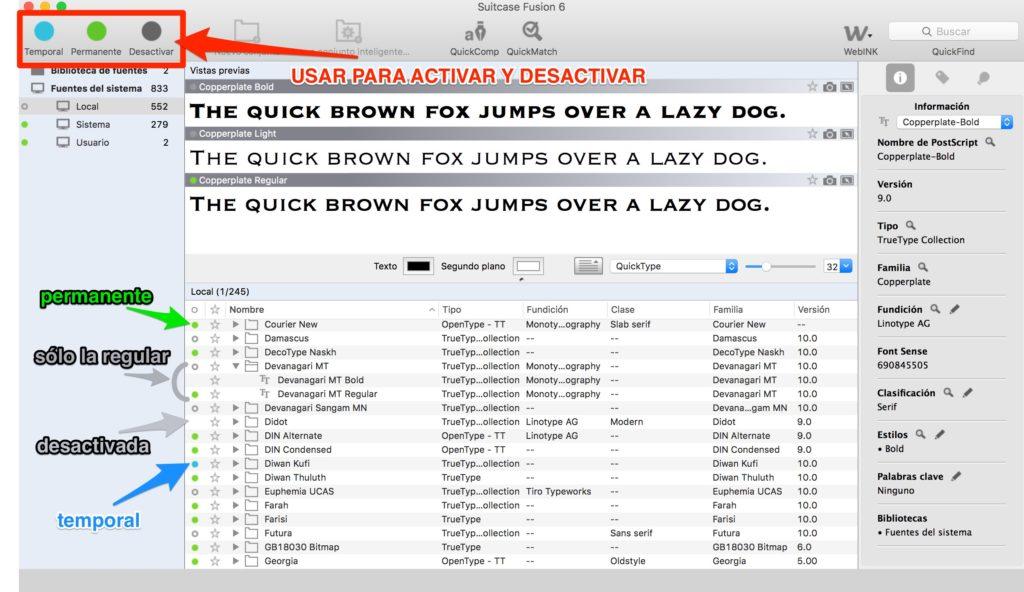 tipografías en mac Suitcase Fusion 3