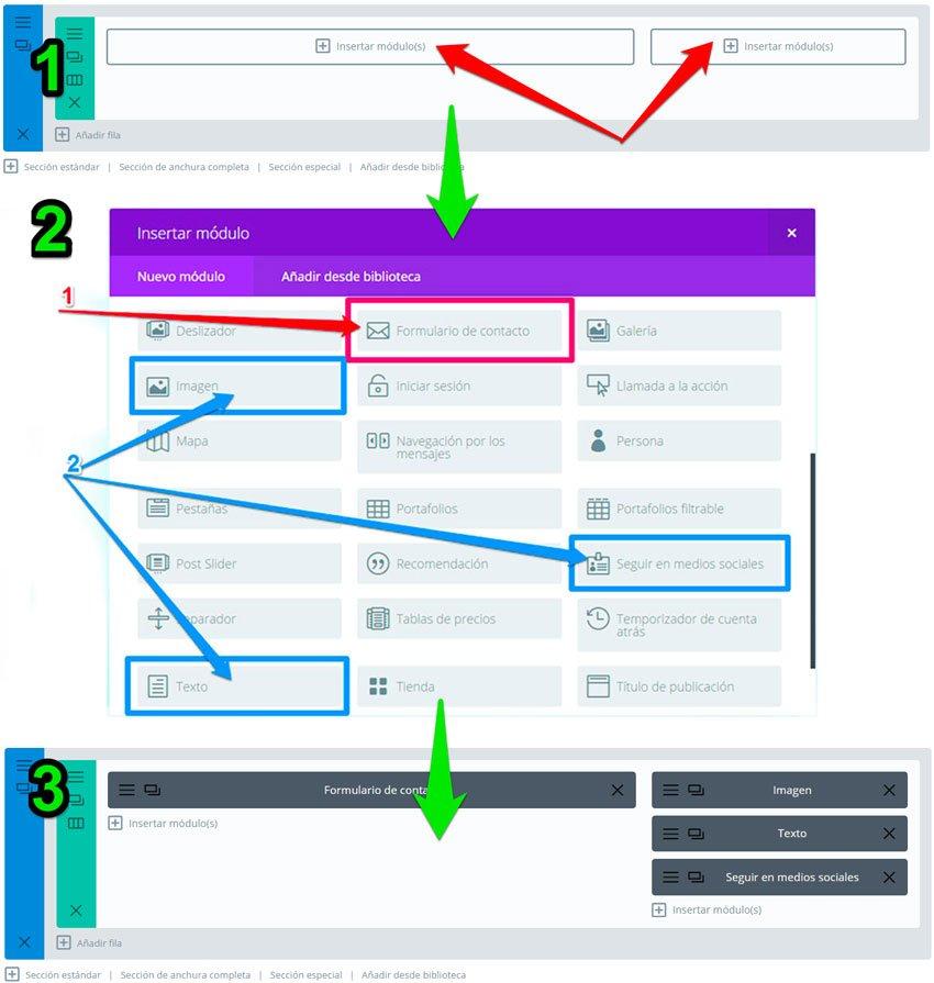 formulario en Extra y Divi. módulos del formulario