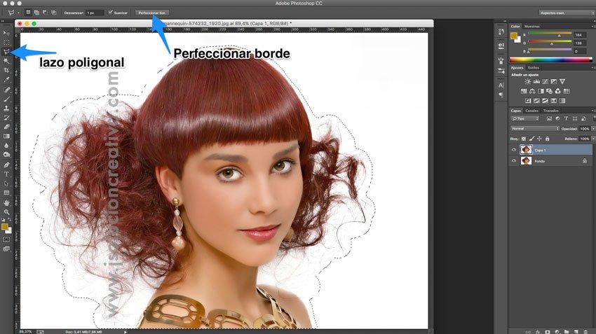 Cómo recortar cabello con photoshop 3