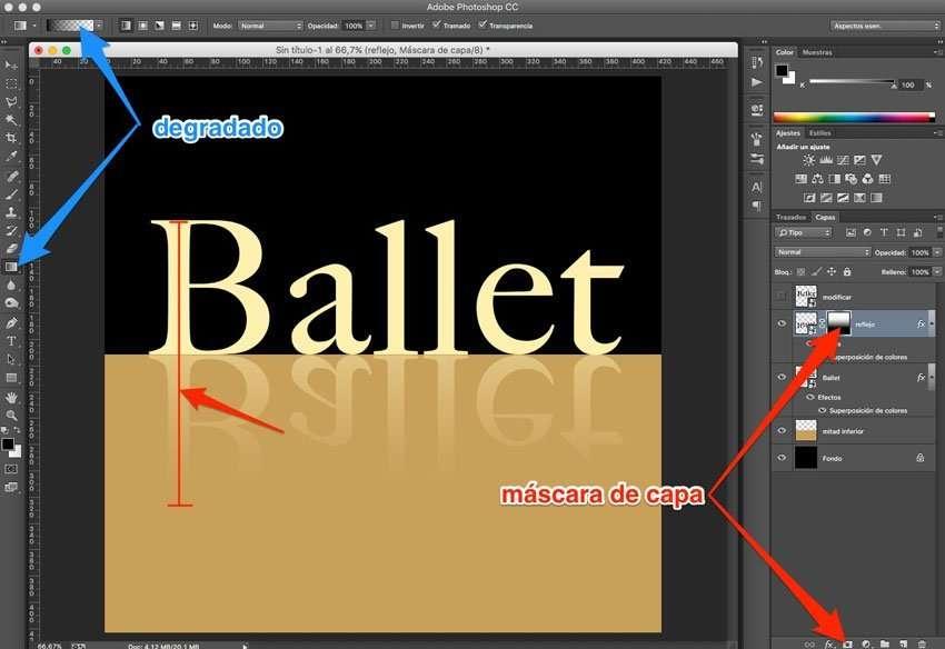 Efecto de reflejo con sombra en Photoshop 6