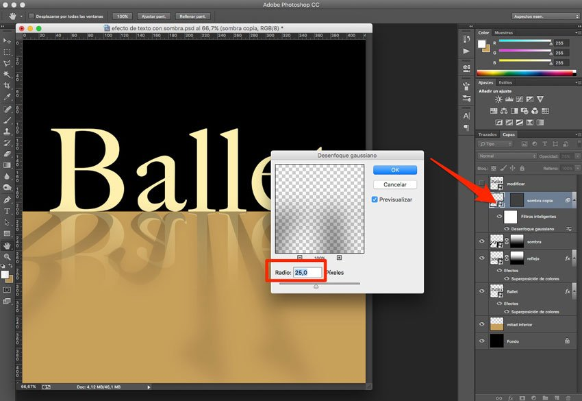 Efecto de reflejo con sombra en Photoshop 8