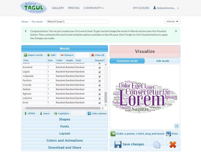 Textura de palabras y letras. tagul1