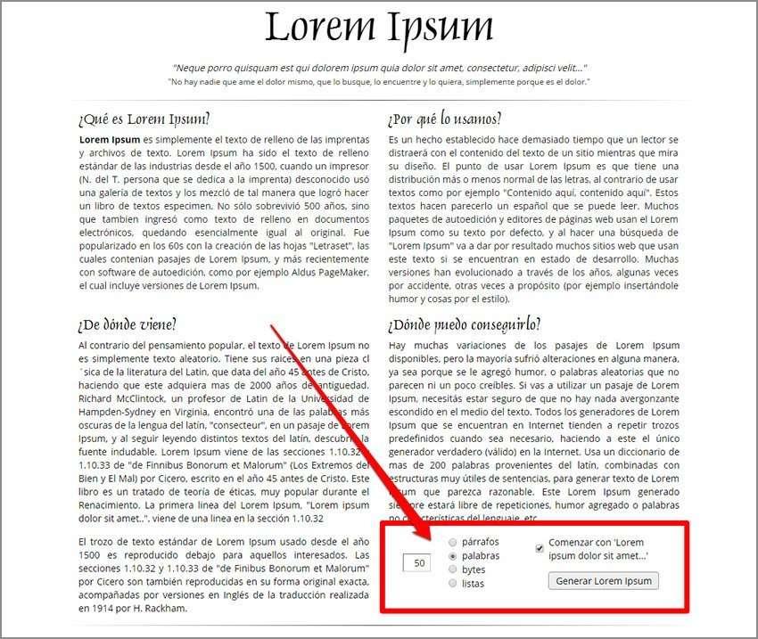 Textura de palabras y letras. loremipsum