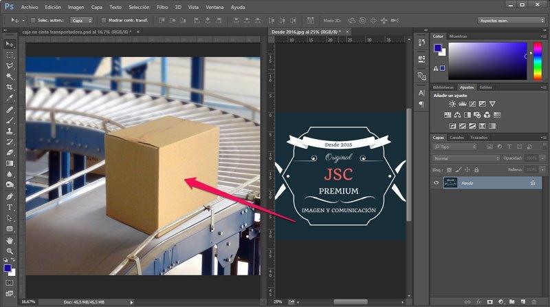 Cómo utilizar el punto de fuga de Photoshop. Pegar imagen
