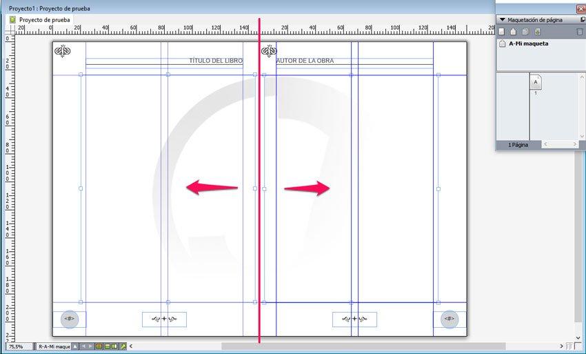 Maqueta en QuarkXPress. Imagen de fondo