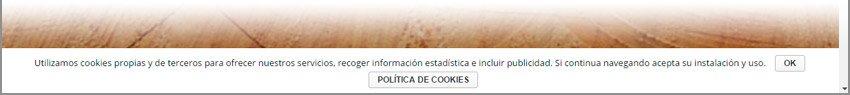 Aviso de cookies. aspecto