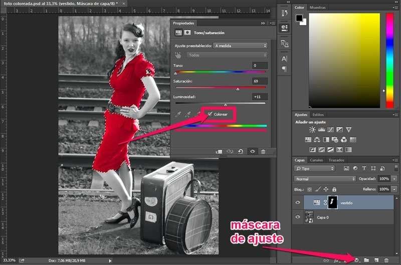 colorear una foto en blanco y negro. selección de color