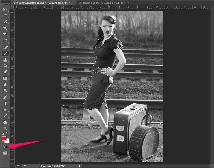 colorear una foto en blanco y negro. selección