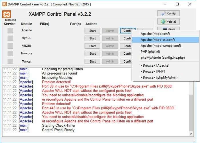 Cambiar el puerto 443 de apache en el panel de XAMPP