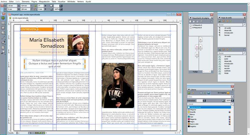 maquetar una revista en QuarkXPress. maqueta interior terminada