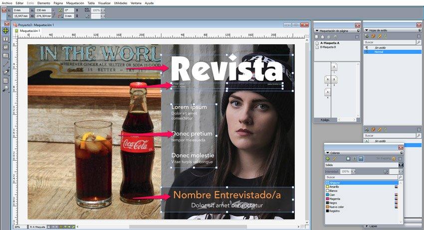 maquetar una revista en QuarkXPress. Portadas textos