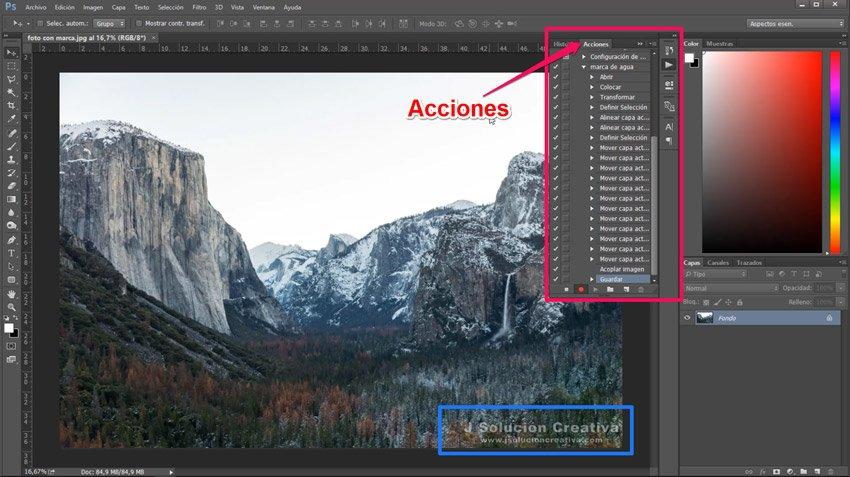 crear una marca de agua con photoshop. Acciones