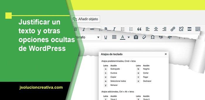 justificar el texto de wordpress, subrayar y más opciones