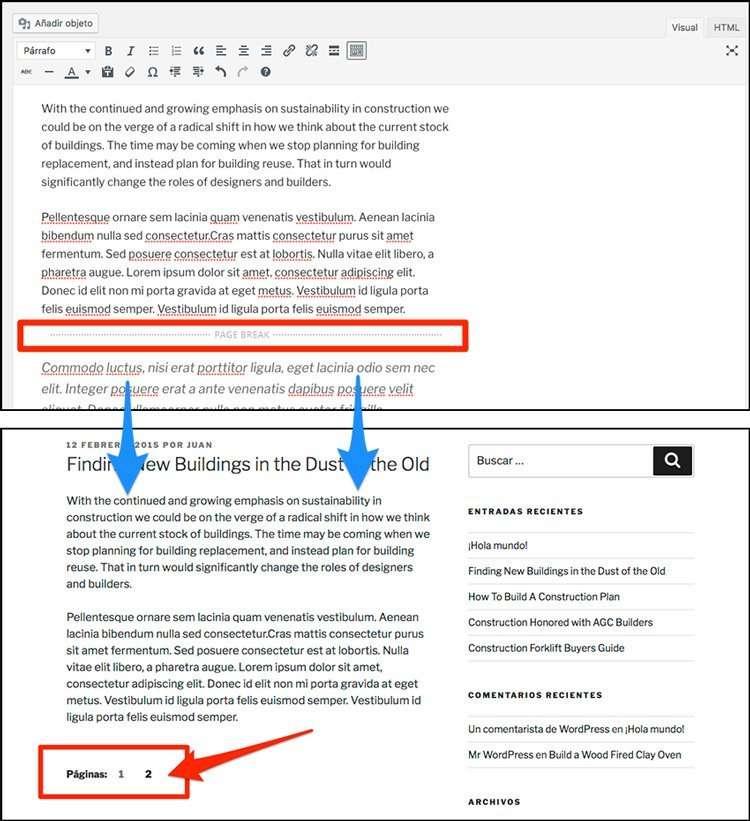 Salto de página en WordPress