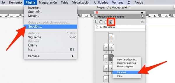 secciones para paginar en quarkxpress