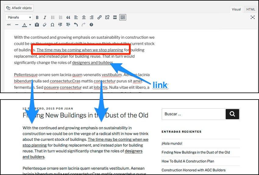 Subrayar y justificar el texto en wordpress
