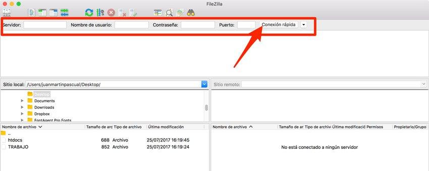 Conexión rápida. Cliente ftp Filezilla