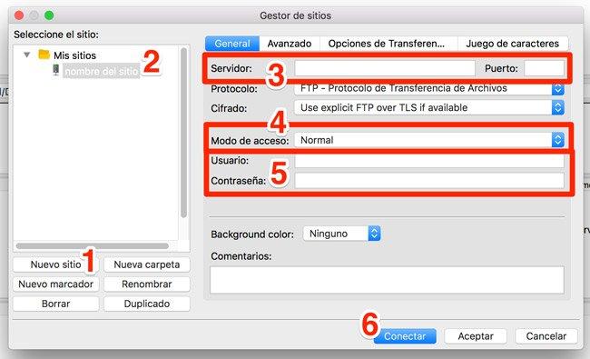Configurar conexión FTP. Cliente ftp Filezilla