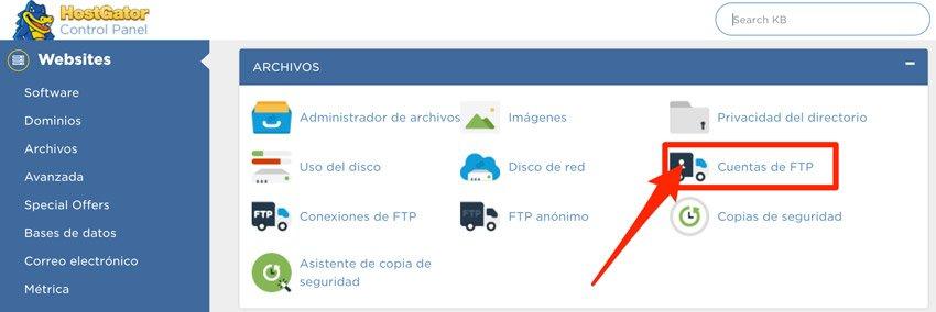 cuentas ftp hostgator. Cliente FTP FileZilla