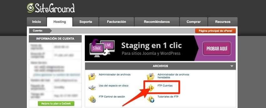 Cuentas ftp Siteground. Cliente ftp Filezilla