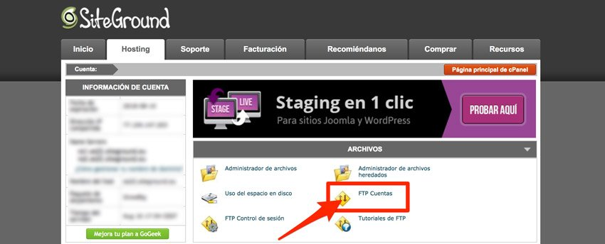 Cuentas ftp Siteground. Cliente ftp Filezilla
