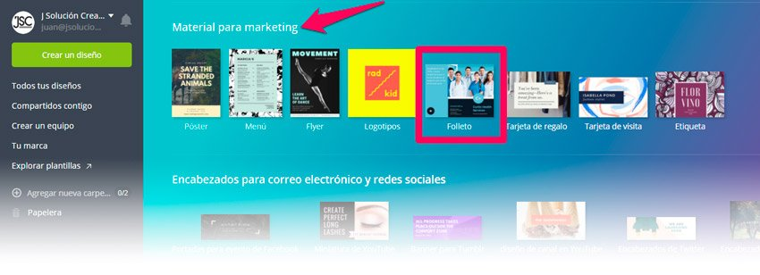 elegir folleto en canva