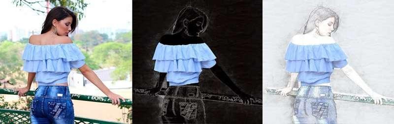 Conceptum 3D Sketch. Acción de Photoshop. Chica