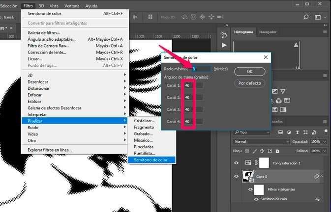 semitonos de color. filtro de pixelizar