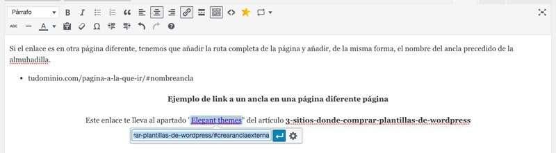 Crear enlace a un ancla en diferente página