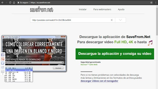 web savefrom.net para descargar vídeos de YouTube
