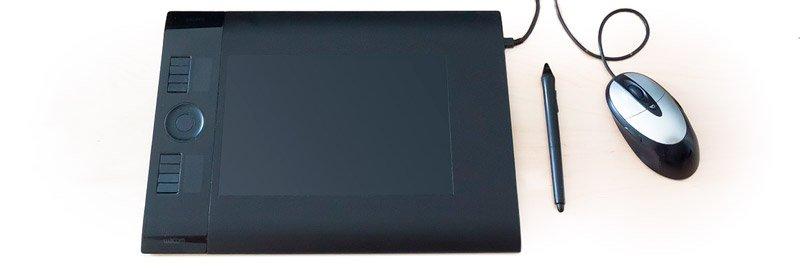 tableta gráfica y ratón