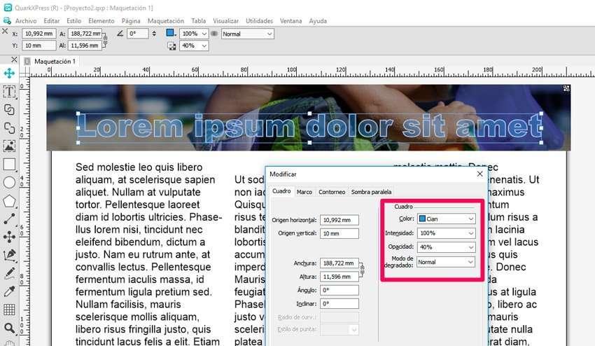 Añadir un borde o contorno al texto. Opciones transparente