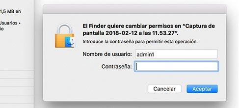 Nombre de cuenta en Mac. Acceso cambio en archivos