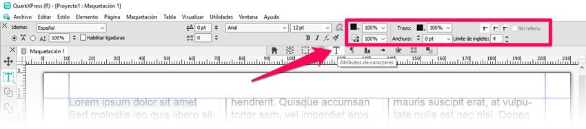 Barra de herramientas para añadir un borde o contorno al texto