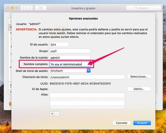 Nombre de cuenta en Mac. cambio de nombre de usuario
