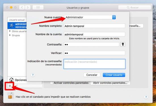 Crear nuevo usuario en Mac