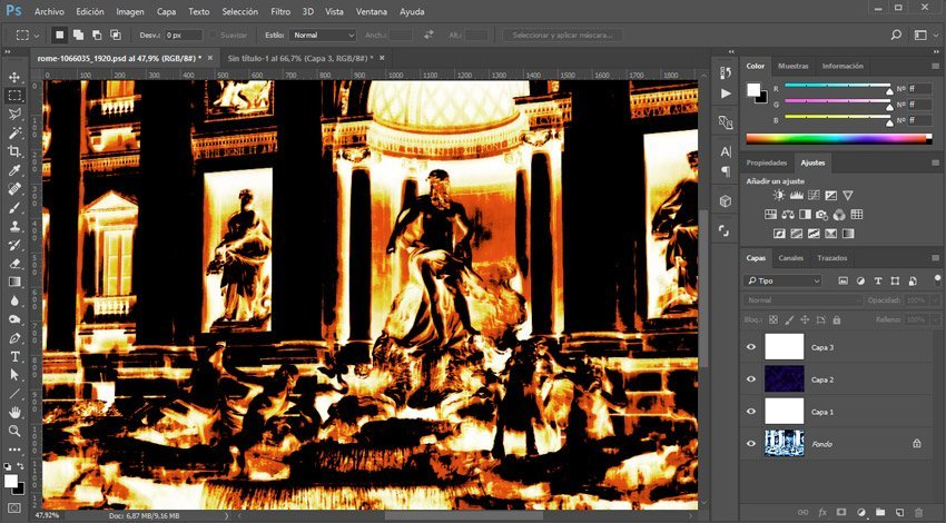 Efecto térmico en Photoshop. capas de diferencia