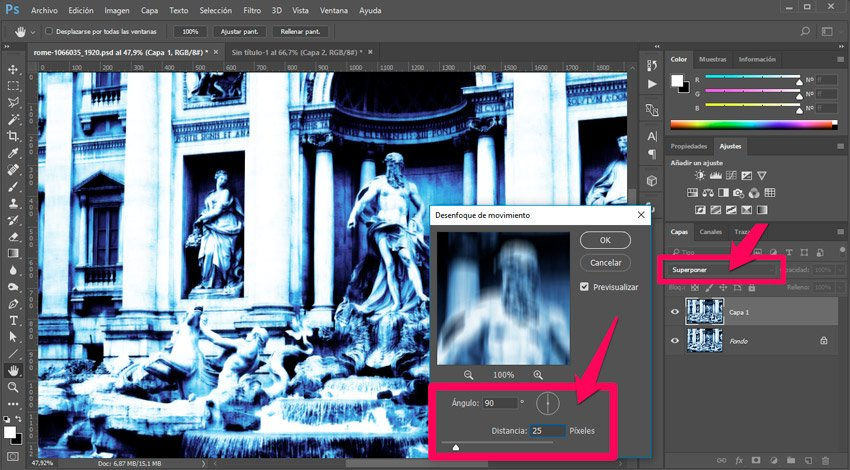 Efecto térmico en Photoshop. Desenfoque de movimiento