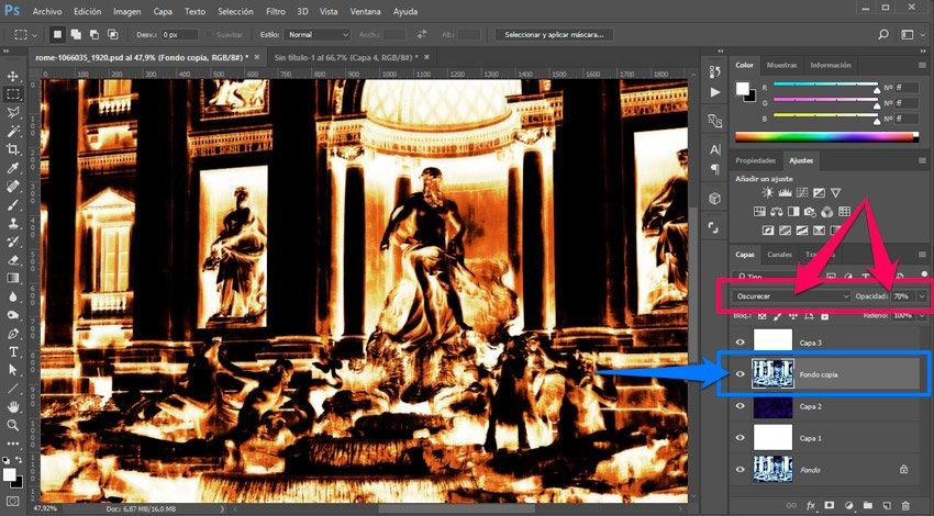 Efecto térmico en Photoshop. Oscurecer capa