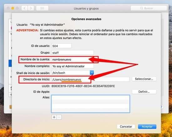 Modificar el nombre de cuenta en Mac