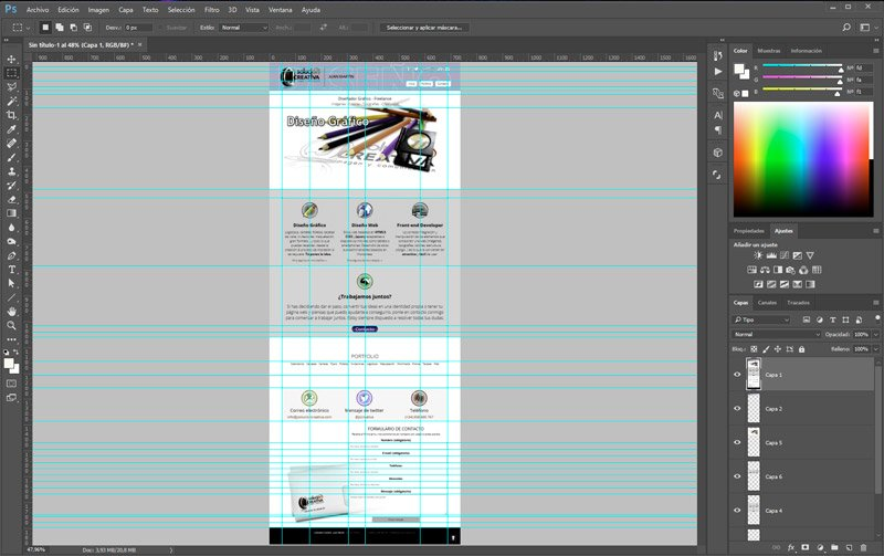 diseño en photoshop de web en dreamweaver